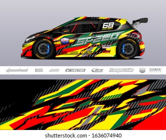 Car wrap decal graphic vector kit. Abstract stripe racing background for vinyl wrapping race car, cargo van, pickup truck, adventure vehicle. Eps 10