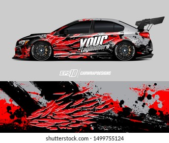 Car wrap decal graphics. Abstract racing stripe and sport background for racing livery or daily use car vinyl sticker.