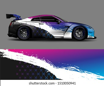 Car wrap decal graphics. Abstract stripe, grunge racing and sport background for racing livery or daily use car vinyl sticker