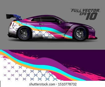 Car wrap decal graphics. Abstract background for racing livery or daily use car vinyl sticker