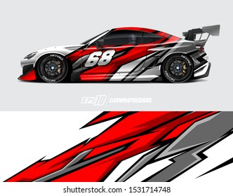 Car wrap decal graphics. Abstract racing and sport background for racing livery or daily use car vinyl sticker.