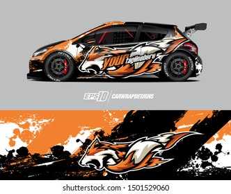 Car wrap decal graphics. Wolf head illustration. Abstract racing and sport background for racing livery or daily use car vinyl sticker.