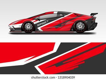 Car wrap decal racing design vector. Graphic kit background designs for vehicle sport