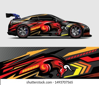 car wrap, decal, vinyl sticker designs concept. auto design geometric stripe bull background for wrap vehicles, race cars, cargo vans, pickup trucks and livery. racing or daily use