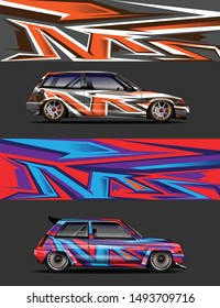car wrap, decal, vinyl sticker designs concept. auto design geometric stripe dino background for wrap vehicles, race cars, cargo vans, pickup trucks and livery. racing or daily use