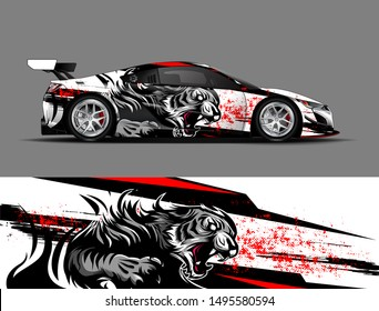 car wrap, decal, vinyl sticker designs concept. auto design geometric stripe tiger background for wrap vehicles, race cars, cargo vans, pickup trucks and livery. racing or daily use