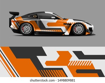 car wrap, decal, vinyl sticker designs concept. auto design geometric stripe abstract background for wrap vehicles, race cars, cargo vans, pickup trucks and livery. daily use or race