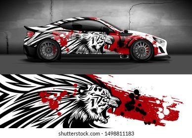 car wrap, decal, vinyl sticker designs concept. auto design geometric stripe tiger background for wrap vehicles, race cars, cargo vans, and livery. daily use or race