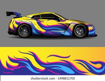 car wrap, decal, vinyl sticker designs concept. auto design geometric stripe fire background for wrap vehicles, race cars, cargo vans, pickup trucks and livery.