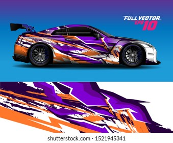 car wrap decal vinyl sticker design concept. with stripe grunge abstract background for race, livery, signage and daily use car.