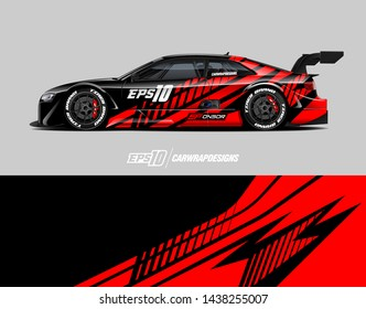 Car wrap design concept.  Abstract racing background for wrap vehicle, race car, cargo van, pickup truck and livery.