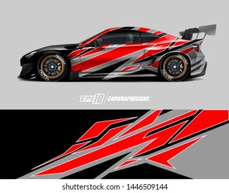 Car wrap design concept. Abstract racing background for wrapping vehicles, race cars, cargo van, pickup trucks, and racing livery.
