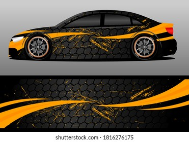car wrap design with gold color and hexagon theme