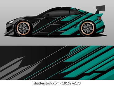 car wrap design with green geometry theme