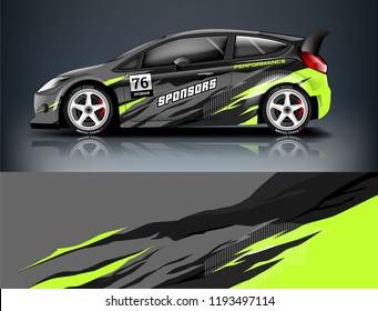 Car wrap design. Livery design for racing car. sedan, hatchback. vector format.