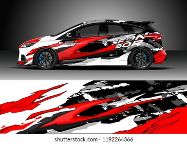 Car wrap design vector. Graphic abstract stripe racing background kit designs for wrap vehicle, race car, nascar car, rally, adventure and livery