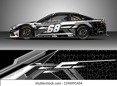 Car wrap design vector. Graphic abstract stripe racing background kit designs for wrap vehicle, race car, rally, adventure and livery