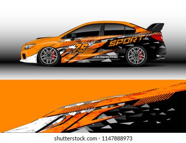 Car wrap design vector, truck and cargo van decal. Graphic abstract stripe racing background designs for vehicle, rally, race, advertisement, adventure and livery car.
