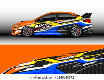 Car wrap design vector, truck and cargo van decal. Graphic abstract stripe racing background designs for vehicle, rally, race, off road car, adventure and livery car.