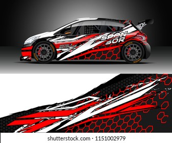 Car wrap design vector, truck and cargo van decal. Graphic abstract stripe racing background designs for vehicle, race, rally, adventure and car racing livery.