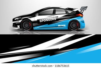 Car wrap design vector, truck and cargo van decal. Graphic abstract stripe racing background designs for vehicle, rally, race, adventure and car racing livery.