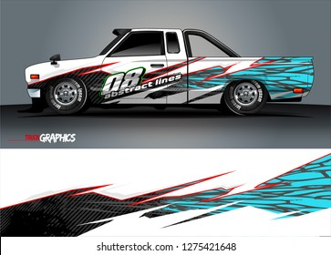 Car wrap design vector, truck and cargo van decal. Graphic abstract stripe racing background designs for vehicle, rally, race, adventure and car racing livery. Vector