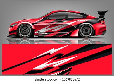 Car wrap design vector, truck and cargo van decal. Graphic abstract stripe racing background designs for vehicle, rally, race, adventure and car racing livery. - Vector