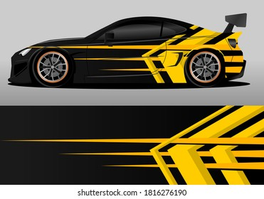 car wrap design with yellow and black color theme