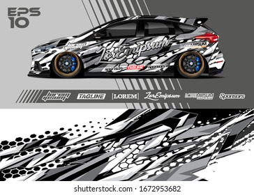 Car wrap graphic livery design vector. Abstract sporty and racing background. Full vector eps 10