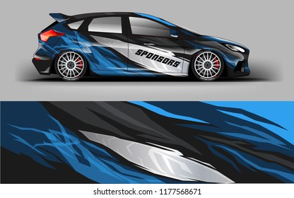 Car wrap graphic racing abstract blue strip background for wrap and vinyl sticker