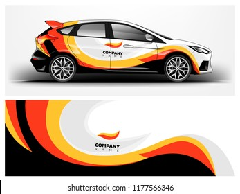 Car wrap graphic racing yellow abstract background for wrap and vinyl sticker