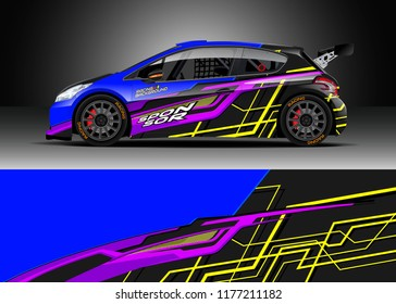 Car wrap graphic vector. Abstract stripe racing background kit designs for wrap vehicle, race car, rally, adventure and livery