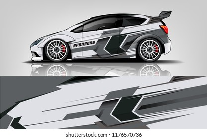 Car wrap.  modern racing car wrap strip for sedan and hatchback. vector eps10.