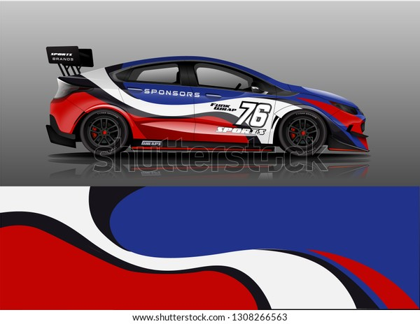 Car Wrap Racing Car Wrap Livery Stock Vector (Royalty Free