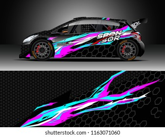 Car wrap, Truck and cargo van decal design vector. Graphic abstract stripe racing background kit designs for wrap vehicle, race car, rally, adventure and livery