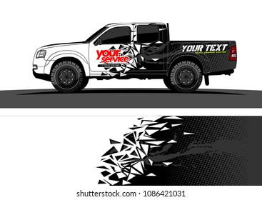 car wrap vector designs. abstract racing shape with grunge background for vehicle vinyl branding