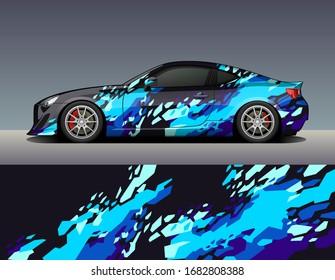 Car wrap vinyl racing decal ornament. Abstract geometric splash sport background design print template. Vector illustration.