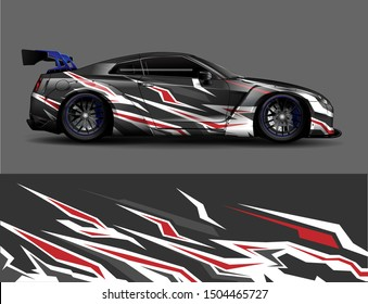 Car wrap vinyl sticker decal graphics. Abstract stripe racing and sport background for racing livery or daily use .