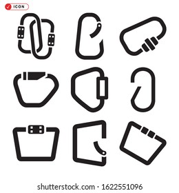 carabiner icon isolated sign symbol vector illustration - Collection of high quality black style vector icons