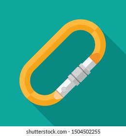 Carabiner icon vector flat design.
