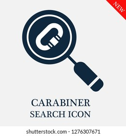 Carabiner search icon. Editable Carabiner search icon for web or mobile.