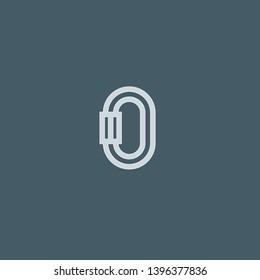 Carabiner vector icon. Carabiner concept stroke symbol design. Thin graphic elements vector illustration, outline pattern for your web site design, logo, UI. EPS 10.