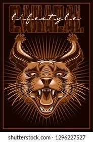 Caracal Cat T-Shirt Print, Label, Logo, Emblem, Symbol