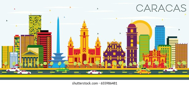 Caracas Skyline with Color Buildings and Blue Sky. Vector Illustration. Business Travel and Tourism Concept with Historic Buildings. Image for Presentation Banner Placard and Web Site.
