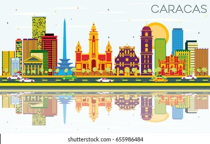Caracas Skyline with Color Buildings, Blue Sky and Reflections. Vector Illustration. Business Travel and Tourism Concept with Historic Buildings. Image for Presentation Banner Placard and Web Site.