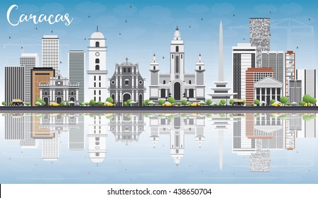 Caracas Skyline with Gray Buildings, Blue Sky and Reflections. Vector Illustration. Business Travel and Tourism Concept with Historic Buildings. Image for Presentation Banner Placard and Web Site.