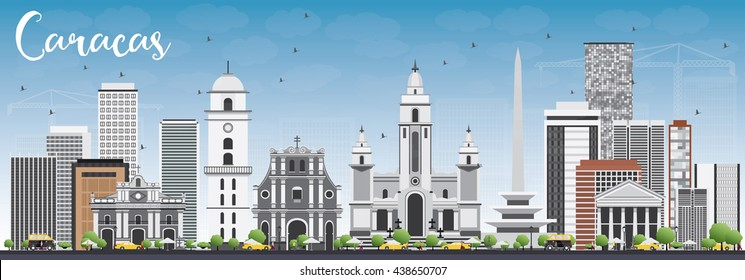 Caracas Skyline with Gray Buildings and Blue Sky. Vector Illustration. Business Travel and Tourism Concept with Historic Buildings. Image for Presentation Banner Placard and Web Site.