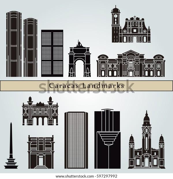 Caracas V2 Landmarks Monuments Isolated On Stock Vector