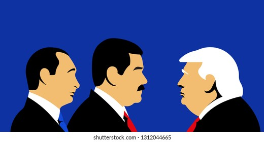 Caracas, Venezuela, 13 February 2019: Nicolas Maduro, President of Venezuela. Vladimir Putin, President of Russia. Donald Trump, President of USA. Negotiations of the three leaders.