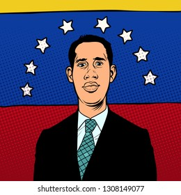 Caracas, Venezuela - 9 February 2019: Portrait of Juan Guido, President of Venezuela, Interim President of Venezuela. National flag. Pop art retro illustration